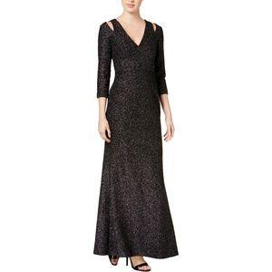 Calvin Klein Glitter Cold Shoulder Evening Dress